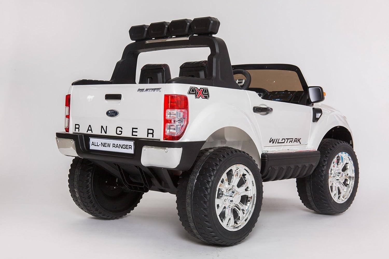 Coche eléctrico para niños Ford Ranger Wildtrak 4X4 LCD Luxury - 2.4Ghz, Pantalla LCD, BLANCO, 2x12V, 4 X MOTOR, mando a distancia, dos asientos en cuero, ...