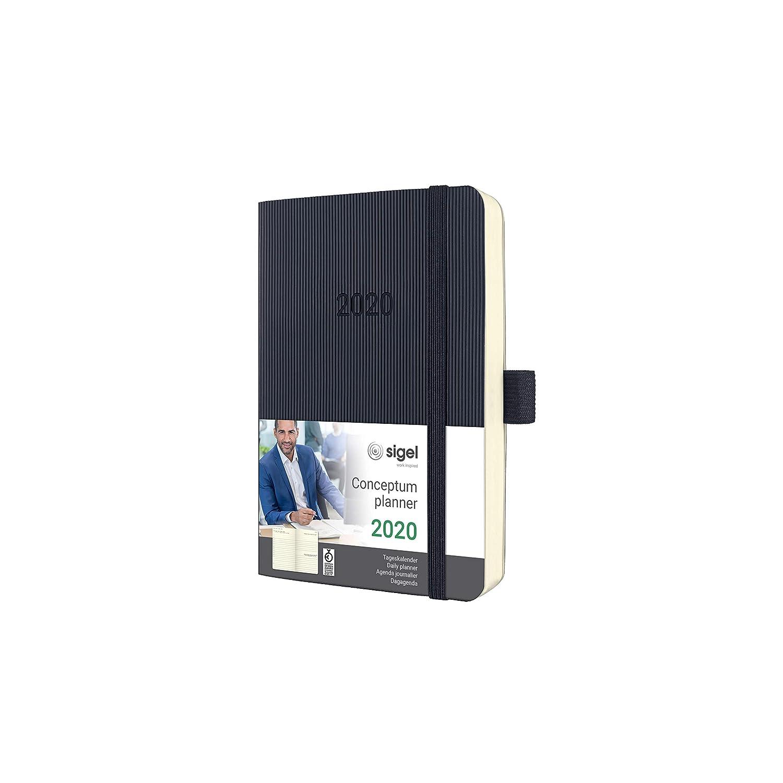 SIGEL C2021 Agenda diaria 2020 Conceptum, tapa blanda 9,3 x 14 cm, negro