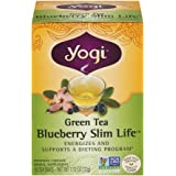 YOGI Green Tea Blueberry Slim Life Tea, 16 Count (Pack of 6)