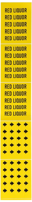 B-946 Legend Red Liquor 2 1//4 Height X 2 3//4 Width Black On Yellow Pressure Sensitive Vinyl Brady 8801-3C Self-Sticking Vinyl Pipe Marker