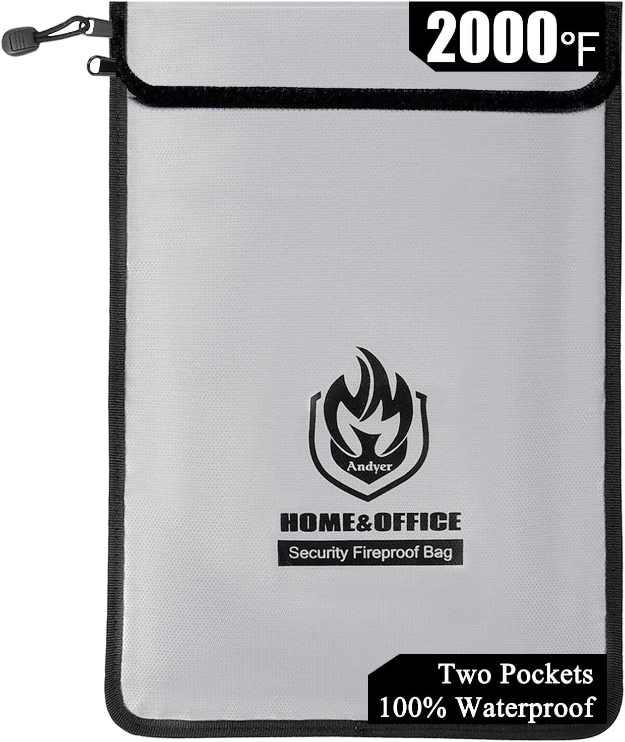 """Upgraded Two Pockets Fireproof Document Bags (2000℉), Andyer 15""""x 11""""Waterproof and Fireproof Money Bag with Zipper, Fire Safe Storage for Valuables,Money,Jewelry,Legal Documents,File and Tablet"""