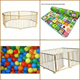 InfantSafe 8-Panel Wooden Baby Playpen - Large Play Pen / Room Divider for Babies & Toddlers w/ Soft Foam Activity Playmat & 100 Coloured Balls / International Delivery