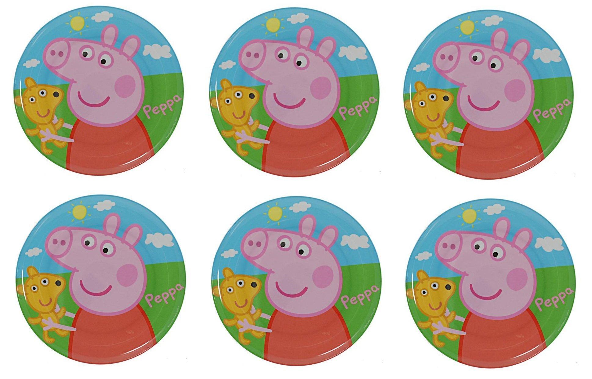 Set of 6 Peppa Pig Melamine Plates 8'' Diameter (20cm) by BWR (Image #1)