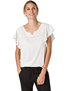 85bc628de07059 TOM TAILOR für Frauen T-Shirts Tops Shirt mit Rüschenärmeln und Spitze