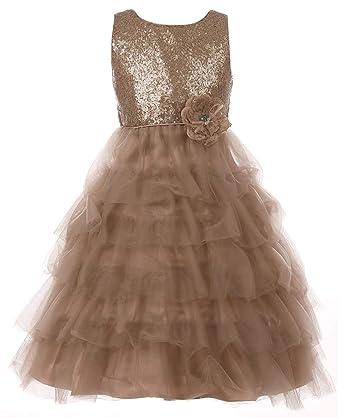 14097a8f0 Little Girls Elegant Sequin Tulle Cascade Pageant Wedding Flower Girl Dress  Copper 2 (C50C63C)