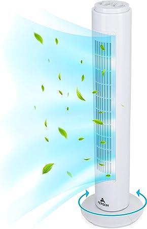 AERSON Ventilador de torre con oscilación de 76 cm con 3 niveles ...