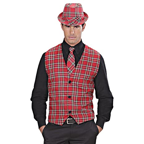 NET TOYS Chaleco Hombre a Cuadros Disfraz escocés M/L 50/52 Top de