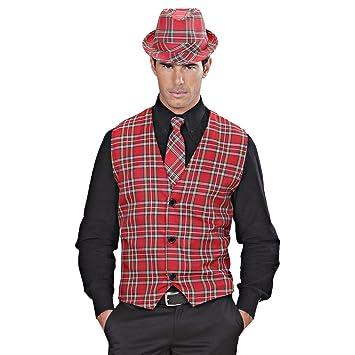 NET TOYS Chaleco Hombre a Cuadros Disfraz escocés M/L 50/52 Top de ...