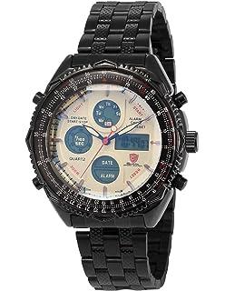 e2e331cf71ee Shark Reloj Hombre de Cuarzo Correa de Acero Inoxidable Negro Esfera Blanca