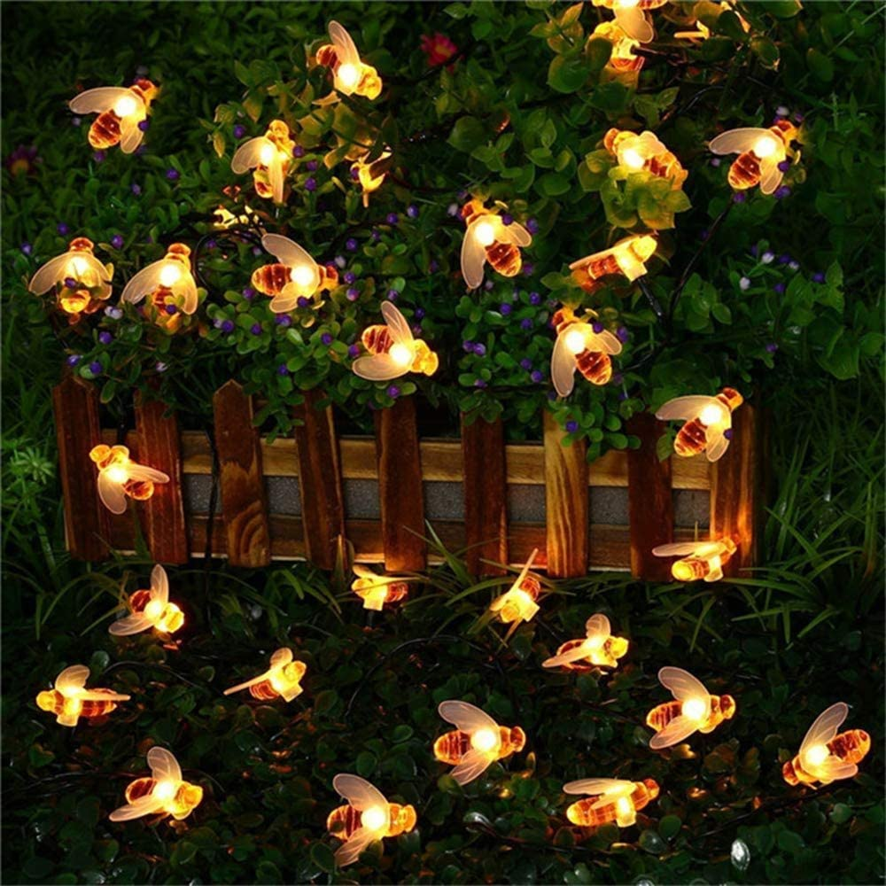 SKYFIRE [Upgraded Solar Honey Bee Fairy String Lights with Two-Way Charging, 30 LED Solar Garden String Lights Outdoor Bee Fairy Lights for Garden Patio Flower Trees Lawn Landscape Xmas Decor