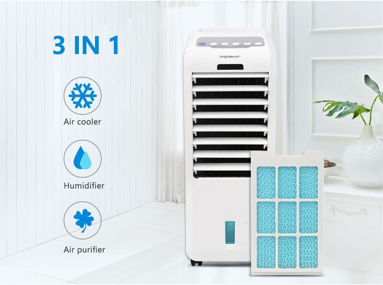Aigostar Climatizador evaporativo con mando a distancia, 55W, función humidificador de aire, oscilante, 3 modos y 3 velocidades, temporizador 7 h, 2 cajas hielo, depósito 5 l: Amazon.es: Hogar
