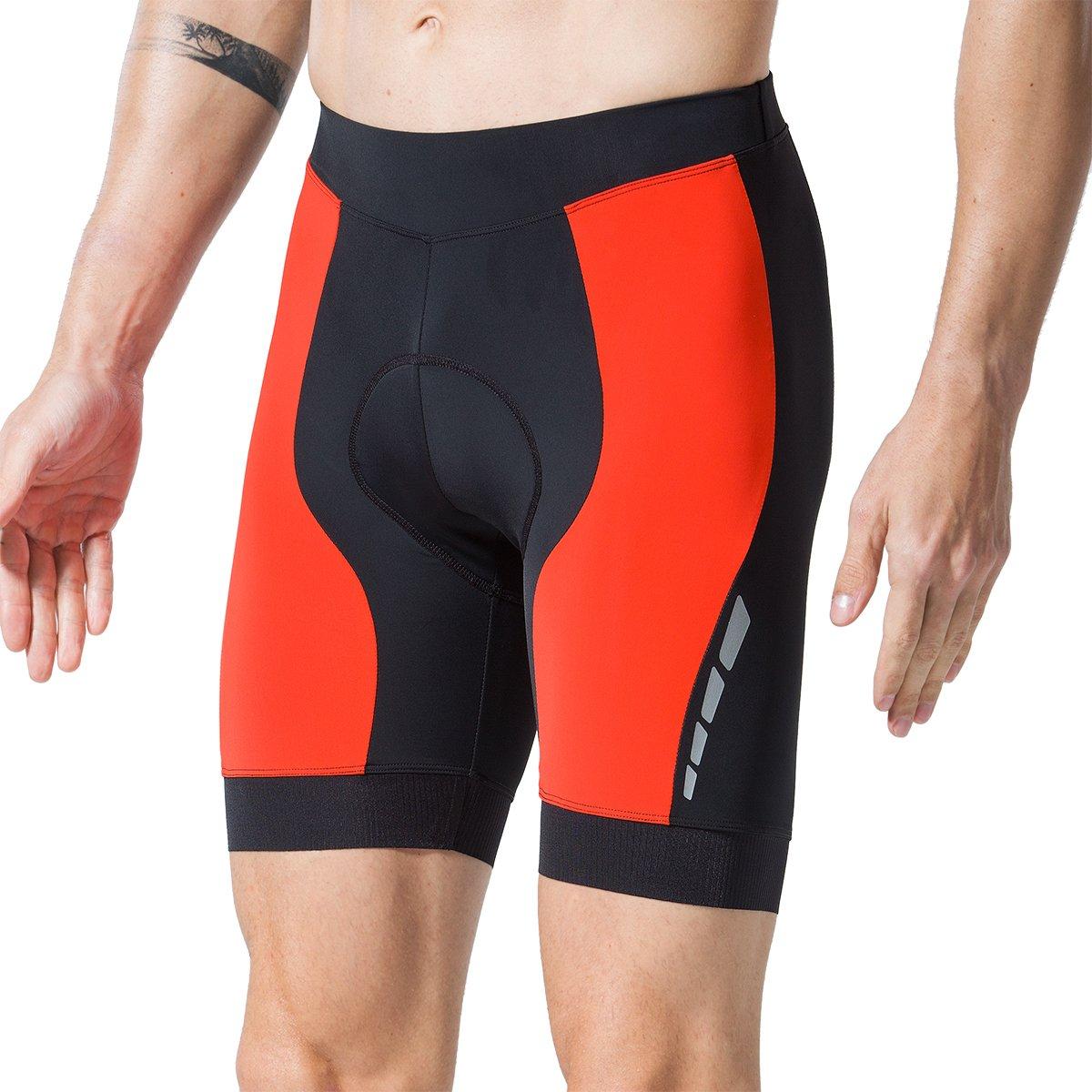 Eco-daily Men's Cycling Shorts Padded Bicycle Riding Half Pants Bike Biking Cycle Tights (1807-red, S)