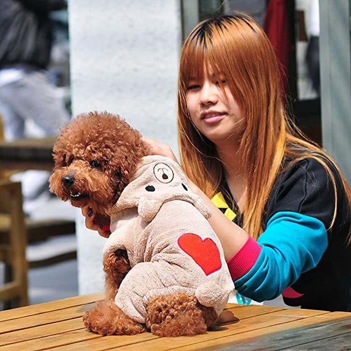 zolimx® Perros Accesorios Ropa, Mascota Perro Caliente Ropa Cachorro Mono Sudadera con Capucha Lindo Corazón Imprimir Perrito Encapuchado