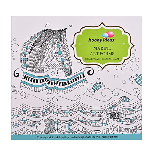 Hobby Ideas Marine Art Colouring Book Adults With Set Of 10 Glitter Gel Pens
