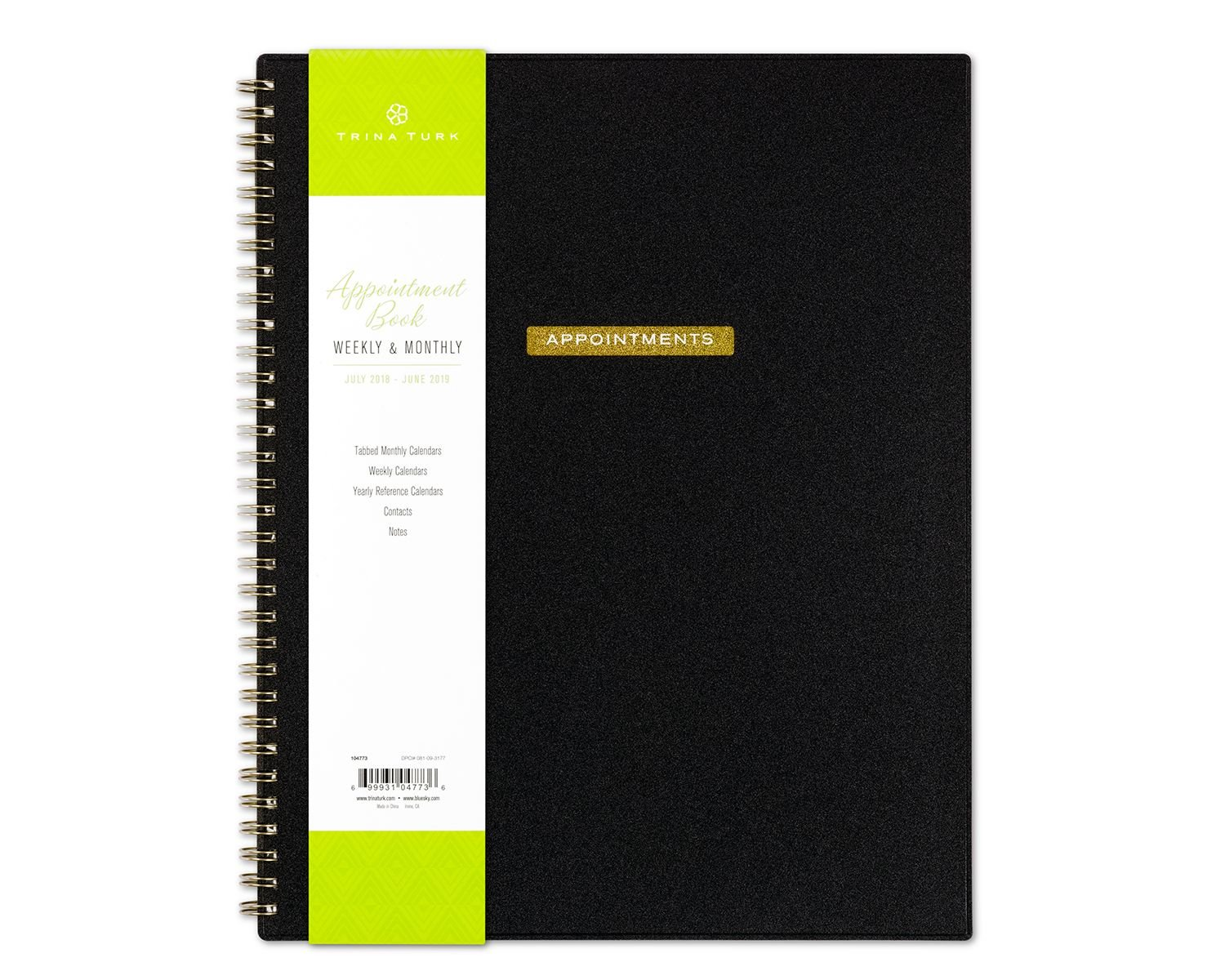 July 2018 - June 2019 Weekly/Monthly Vertical Appointment Frosted Planner, Size 8.5x11, Wire-Bound (Solid Black)