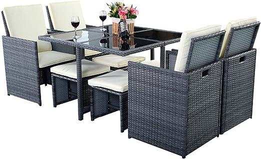 Costway - Muebles de ratán para jardín o terraza, mesa de comer, sillas y sofá de ratán. 9 piezas. Color gris: Amazon.es: Jardín