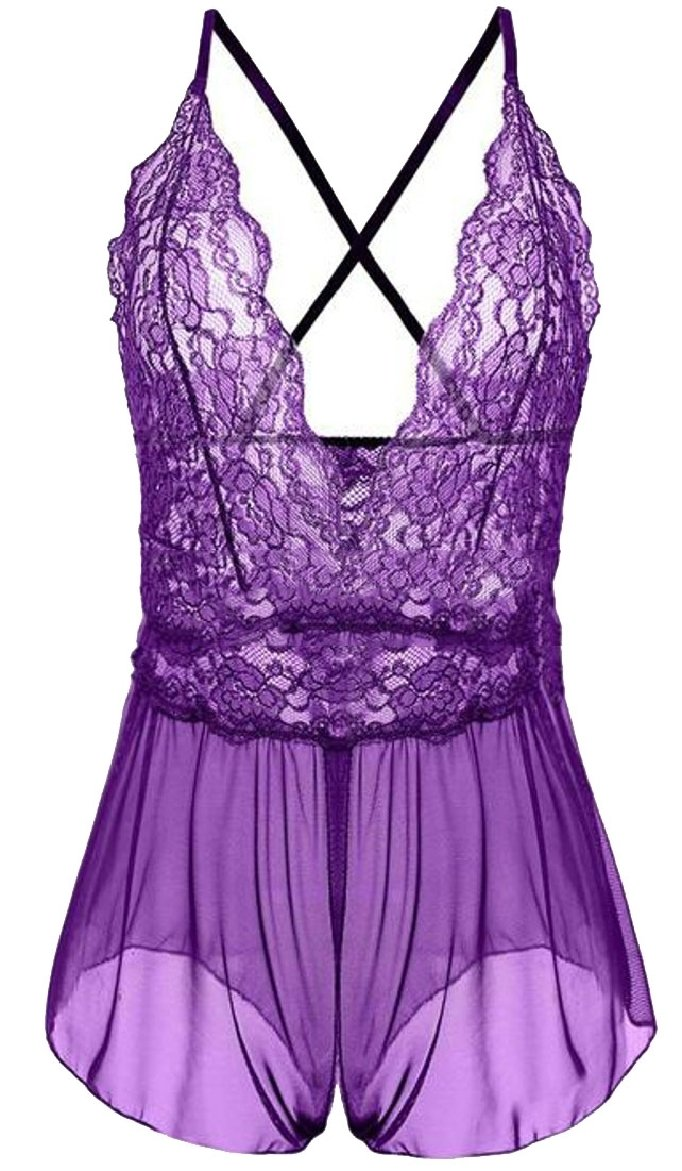 ONTBYB Women Lingerie Lace Babydoll Mini Bodysuit V Outfits Halter Teddy Purple XXS
