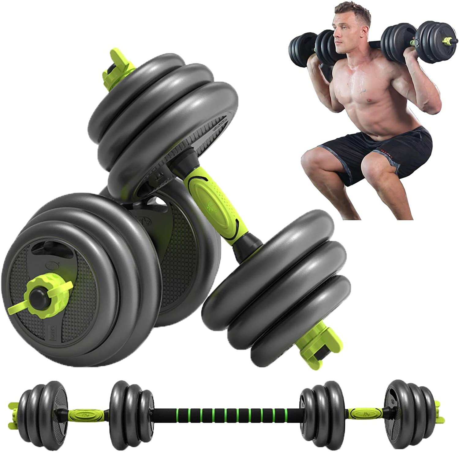 MZQZM Adjustable Dumbbells Set, 44Lbs Dumbbells(2 Pieces), Lightweight Barbell, Heavy Duty Barbell 3 in 1 Set, Home Training Essential Gym Equipment