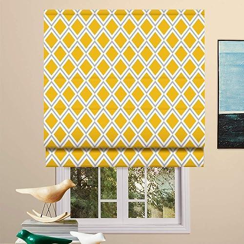 Artdix Roman Shades Blackout Window Shades – Yellow Custom Size Lined Fabric Custom Geometric Roman Shades Blinds for Windows, Doors, French Doors, Kitchen Windows