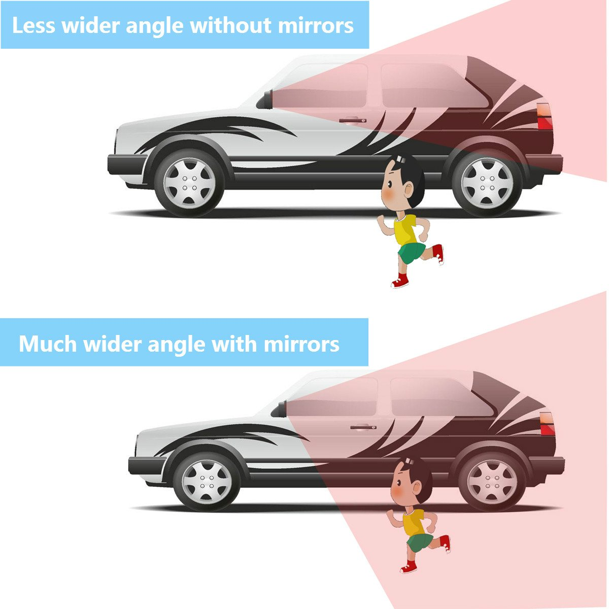 Blind Spot Mirror Skybaba Square 360/° Rotate Adjustable Wide Angle Rear View Mirror HD Glass Convex Side View Mirror for All Universal Vehicles Car Pack of 2