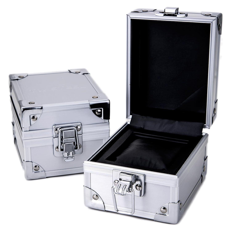 TW stål herr kvartsklocka med röd urtavla kronograf display och svart gummirem Black/Titanium
