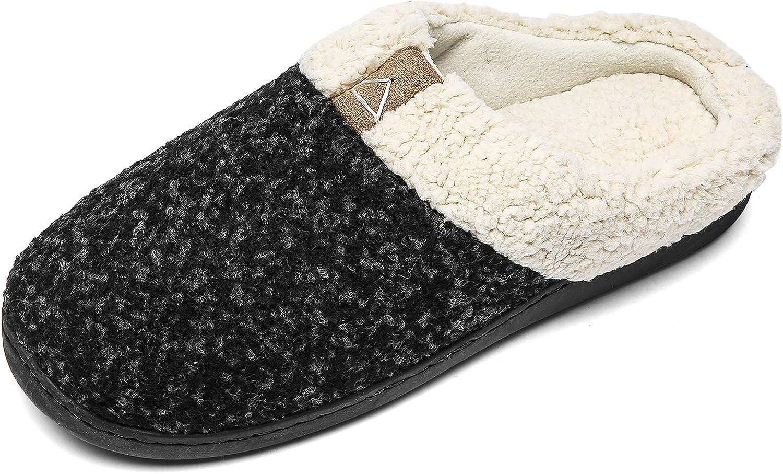 Womens Memory Foam House Slippers Plush Fleece Indoor Outdoor Home Shoes