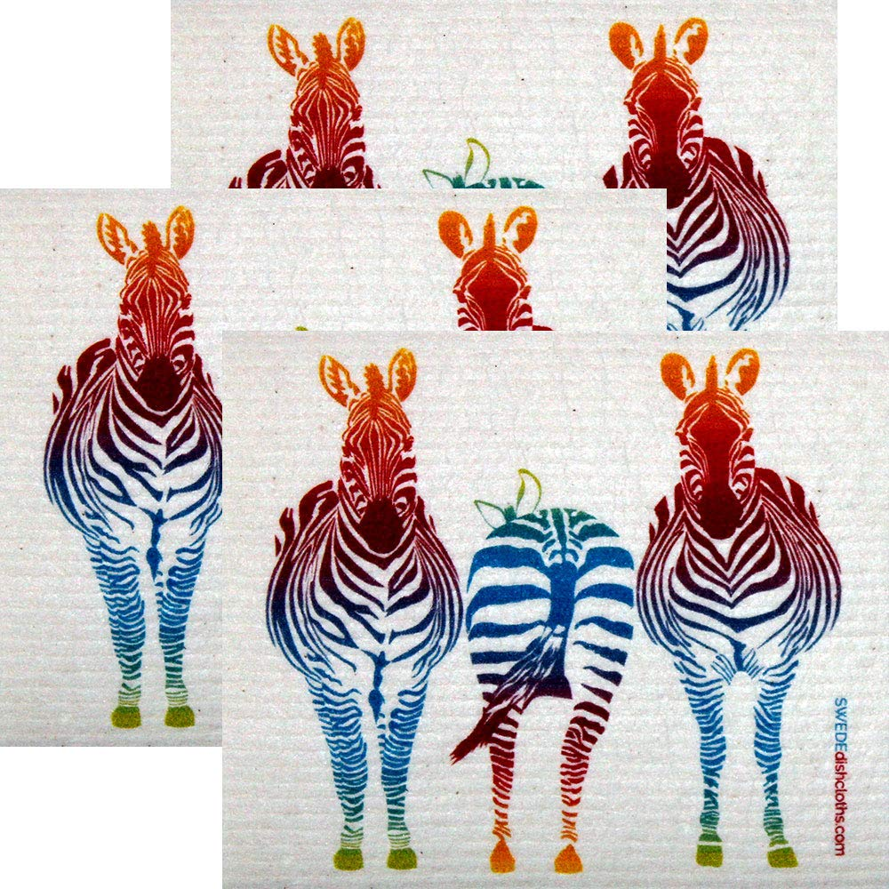 Colorful Zebra Set of 3 each Swedish Dishcloths | ECO Friendly Absorbent Cleaning Cloth | Reusable Cleaning Wipes