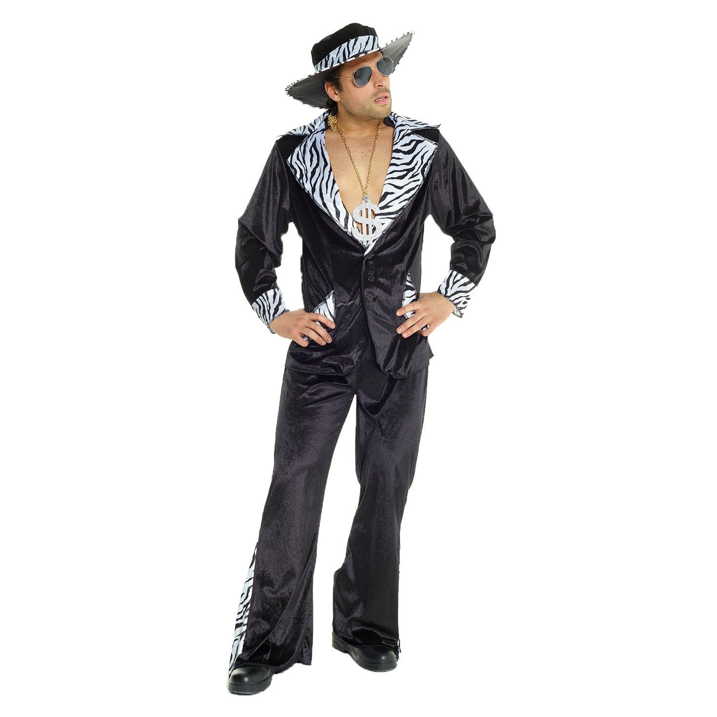 7129b303d3d Amazon.com  Mens Pimp Daddy Costume Velvet Suit for Bachelor Stag Party  Fancy Dress  Clothing