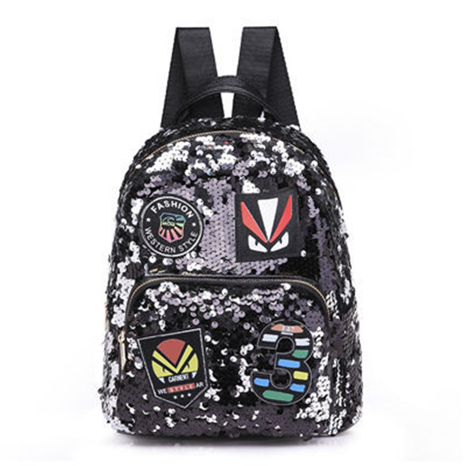 Amazon.com  Adam Woolf Brand Fashion Sequins Women Backpack Designer School  Bags For Teenager Girls Luxury Pu Leather Backpack Black 28Cmx22Cmx12Cm   Shoes f2d3281c3b62e