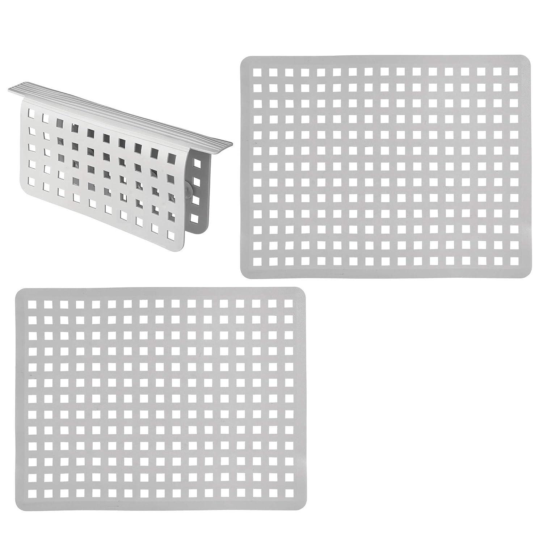 mDesign Set da 3 Tappetini per lavello cucina in plastica – Grande tappetino lavandino protettivo con design a griglia – Accessori cucina per lavello a doppia vasca – grigio MetroDecor