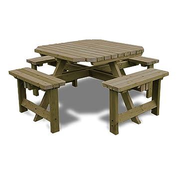 Table de pique-nique octogonale avec bancs de style bar pour ...