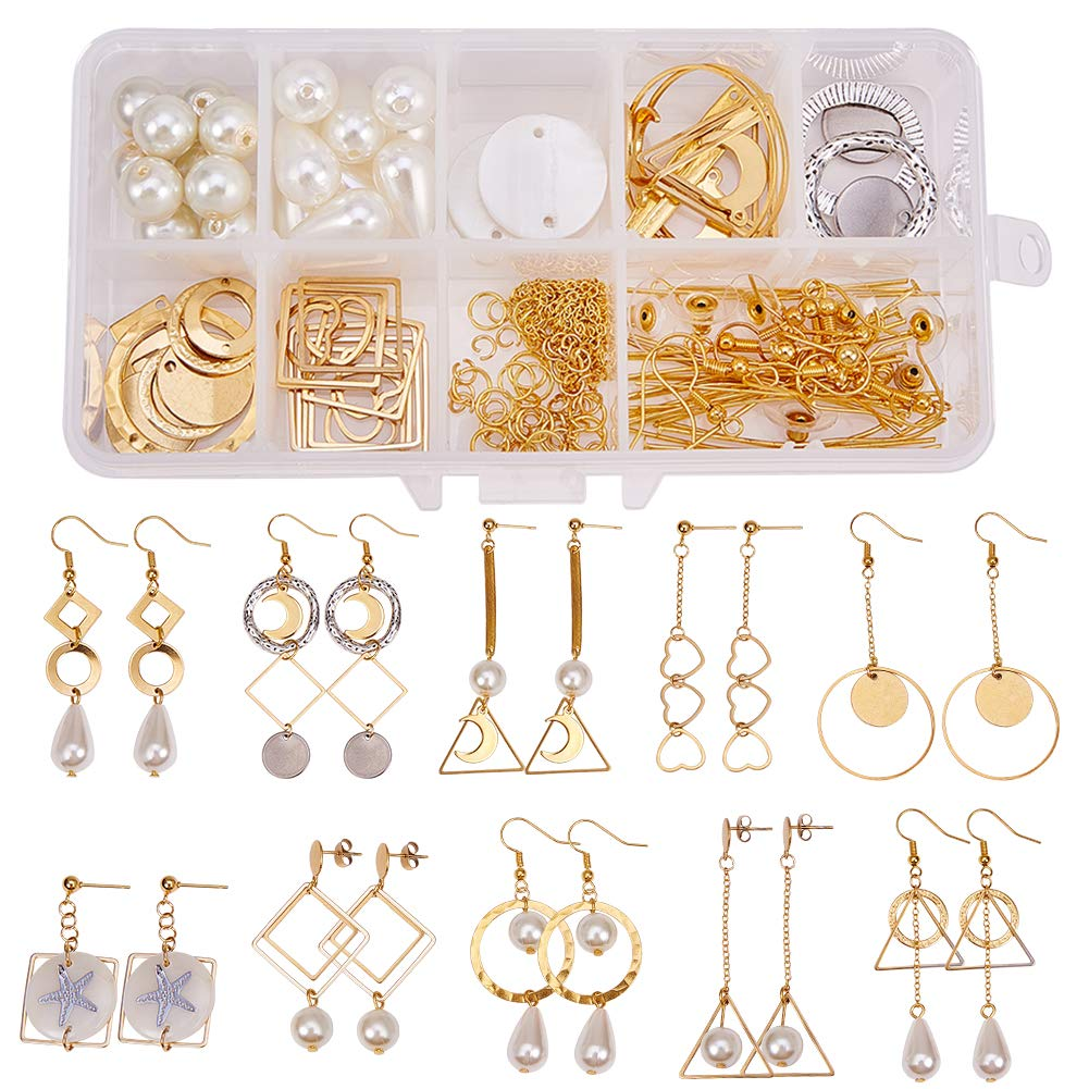 Earring Stud Hooks Jewelry Making Supplies Craft for Beginners SUNNYCLUE 1 Box DIY 10 Pairs Geometric Hollow Earring Making Starter Kit Classic Round Square Heart Triangle Charm Connector Golden
