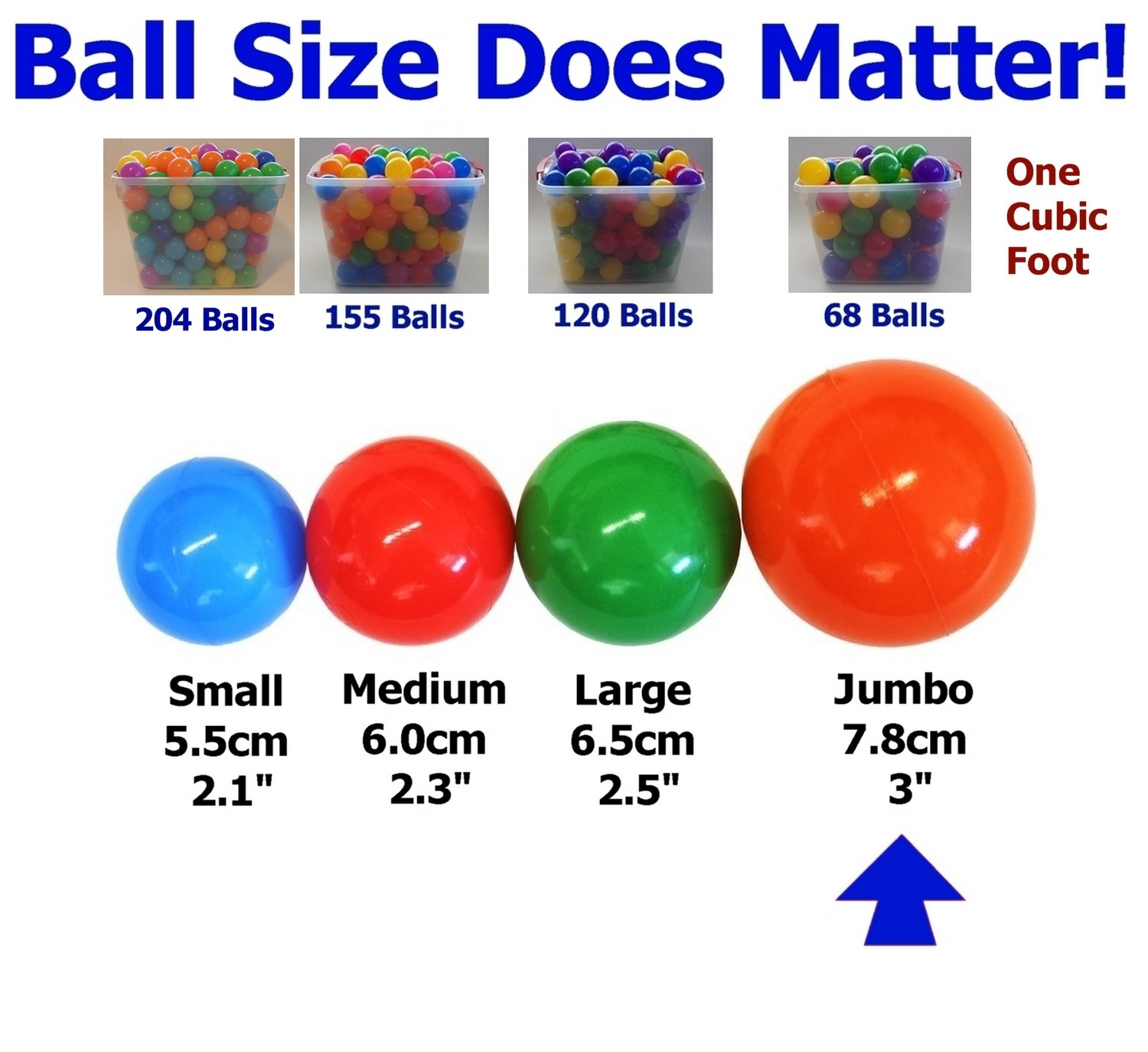 My Balls Pack of Jumbo 3'' Crush-Proof Ball Pit Balls - 5 Bright Colors, Phthalate Free, BPA Free, PVC Free, Non-Toxic, Non-Recycled Plastic by My Balls (Image #3)