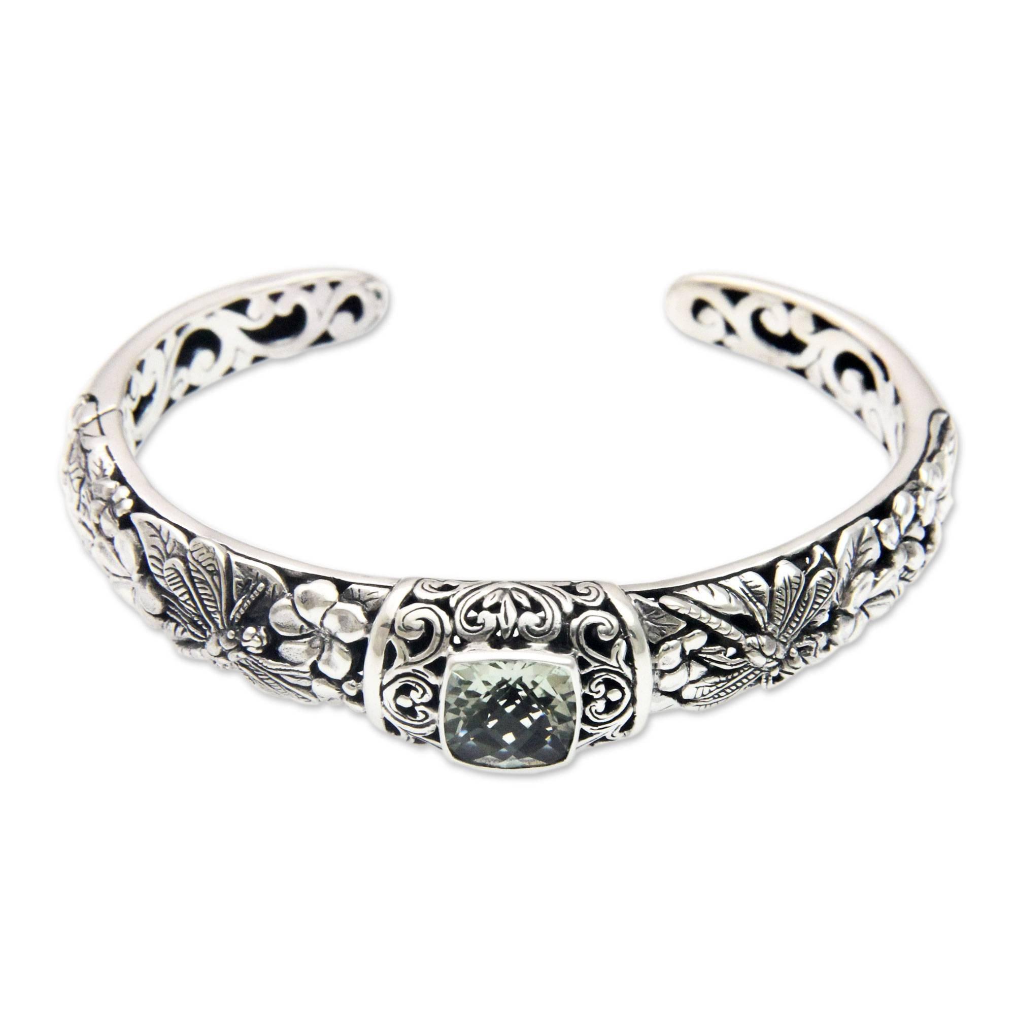 NOVICA Prasiolite .925 Sterling Silver Cuff Bracelet 'Dragonfly Frangipanis' by NOVICA