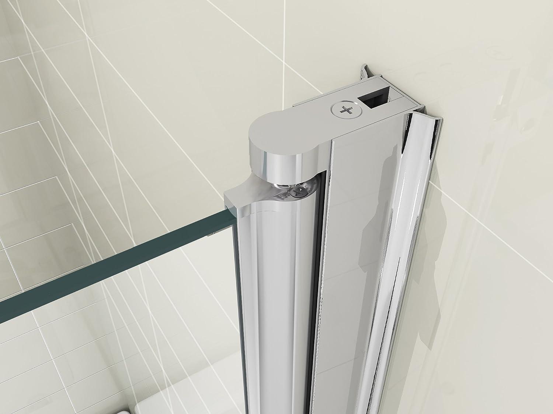 hnnhome 180 pivot folding panel over bath shower screen 6 mm hnnhome 180 pivot folding panel over bath shower screen 6 mm glass large amazon co uk kitchen home