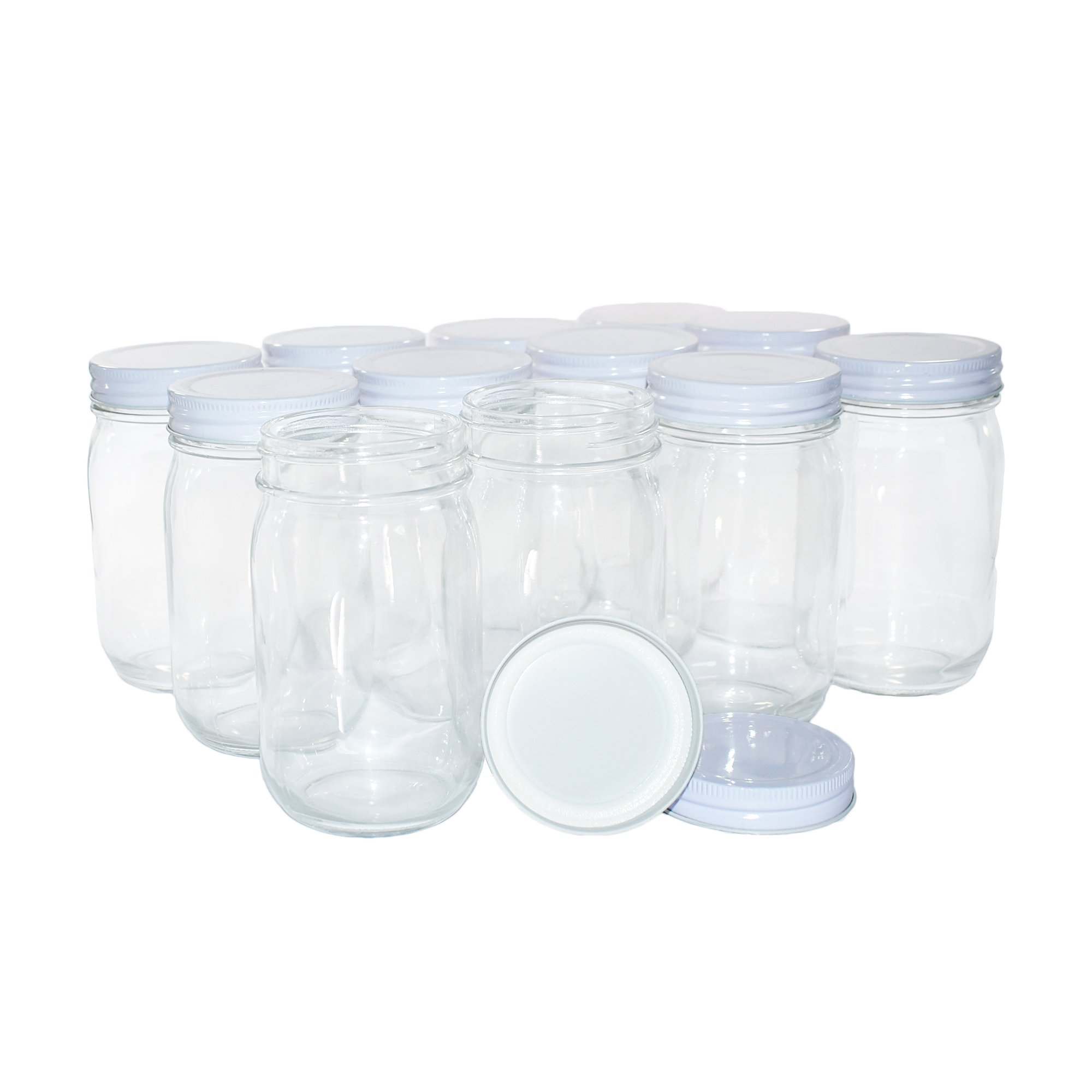 12 Pack Clear Glass Old-Fashioned Jars With Metal Lid (with seal) 16oz