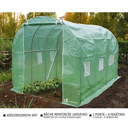 Vounot Polytunnel Greenhouse 3x2x2m 6m² Poly Tunnels Gardening Walk In Pollytunnel Tent With Steel Frame