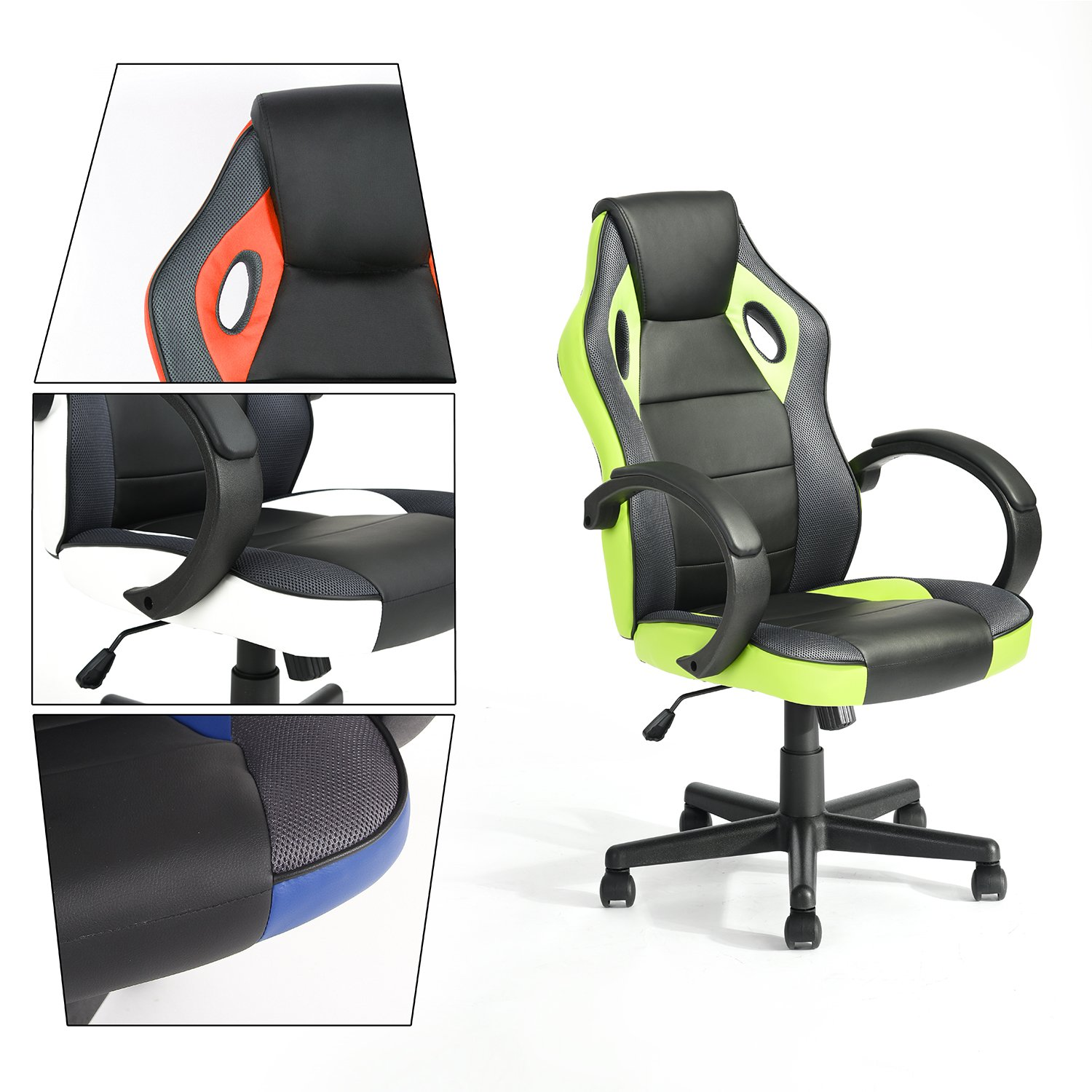 GreenForest Executive Racing Car Style Video Game Chair, Ergonomic Adjustable Swivel Armrest PU Leather Seat High Back For Home Office Desk, Green
