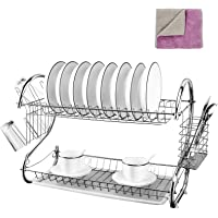 Kitchen 2-Tier Dish Rack Chrome Plated Dish Drying Rack Organizer with Utensil Holder/Drainboard for Counter,White 17 x…