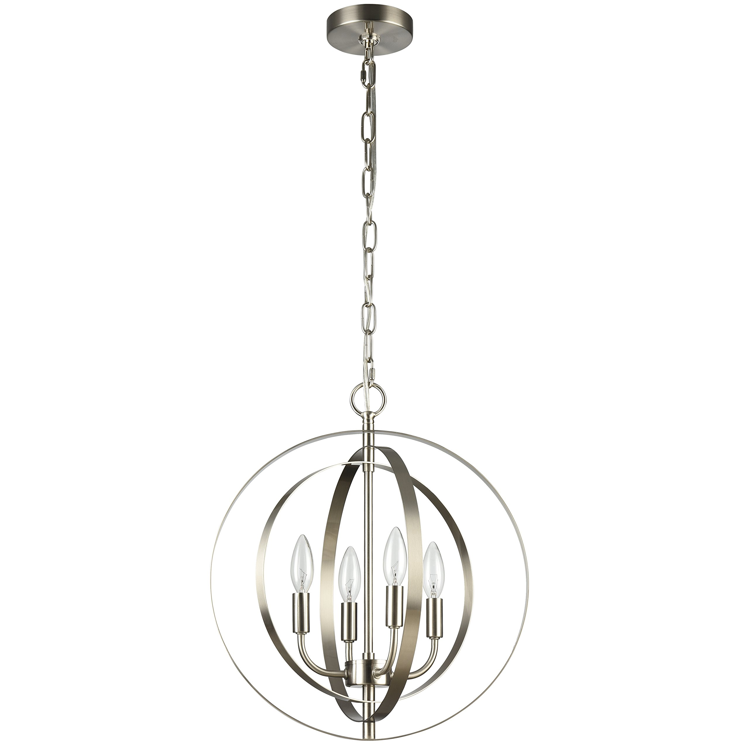 MICSIU Industrial Pendant Vintage Light,Globe Hanging Lamp Antique chandelier,Ceiling droplight Fixture For Kitchen Hallway Porch Dining Room Bedroom ,Brushed Nickel,