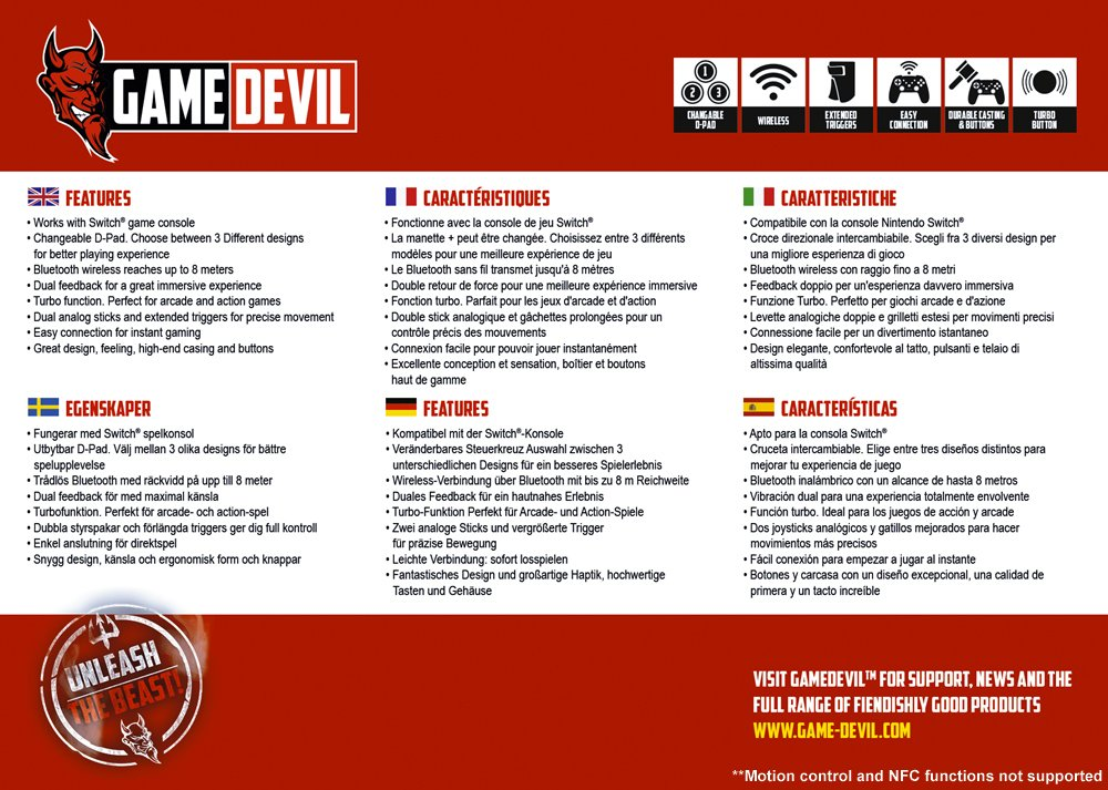 Game Devil Switch PRO-S Controller Wireless - Nintendo Switch [Importación inglesa]: Amazon.es: Videojuegos