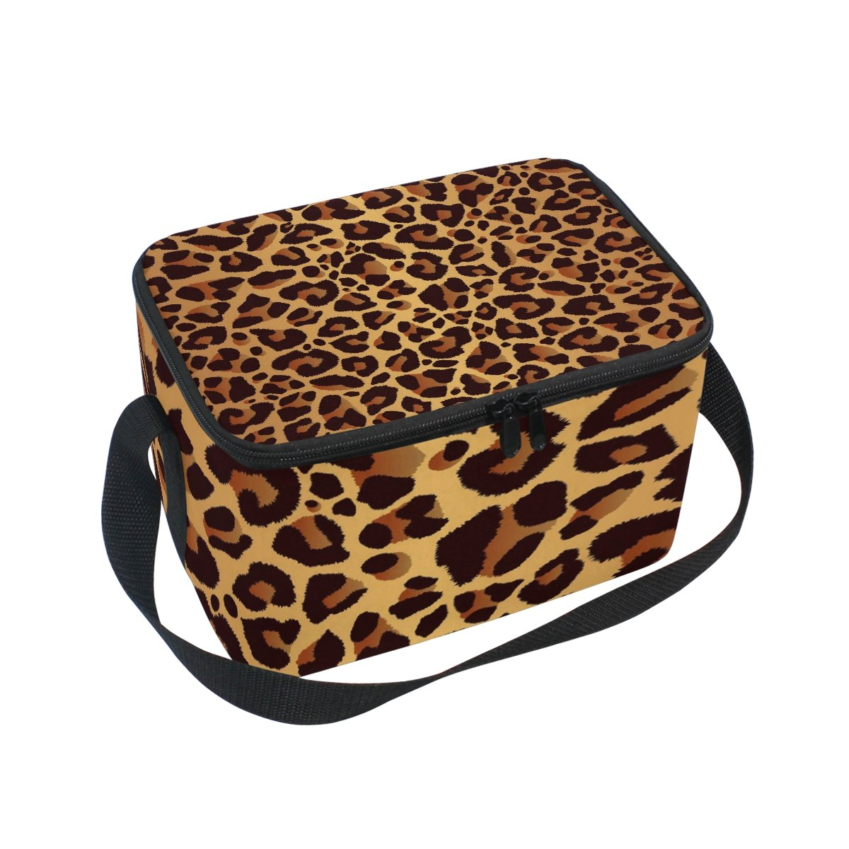 Use4 Leopard Print Bright Animal Skin Insulated Lunch Bag Tote Bag Cooler Lunchbox for Picnic School Women Men Kids