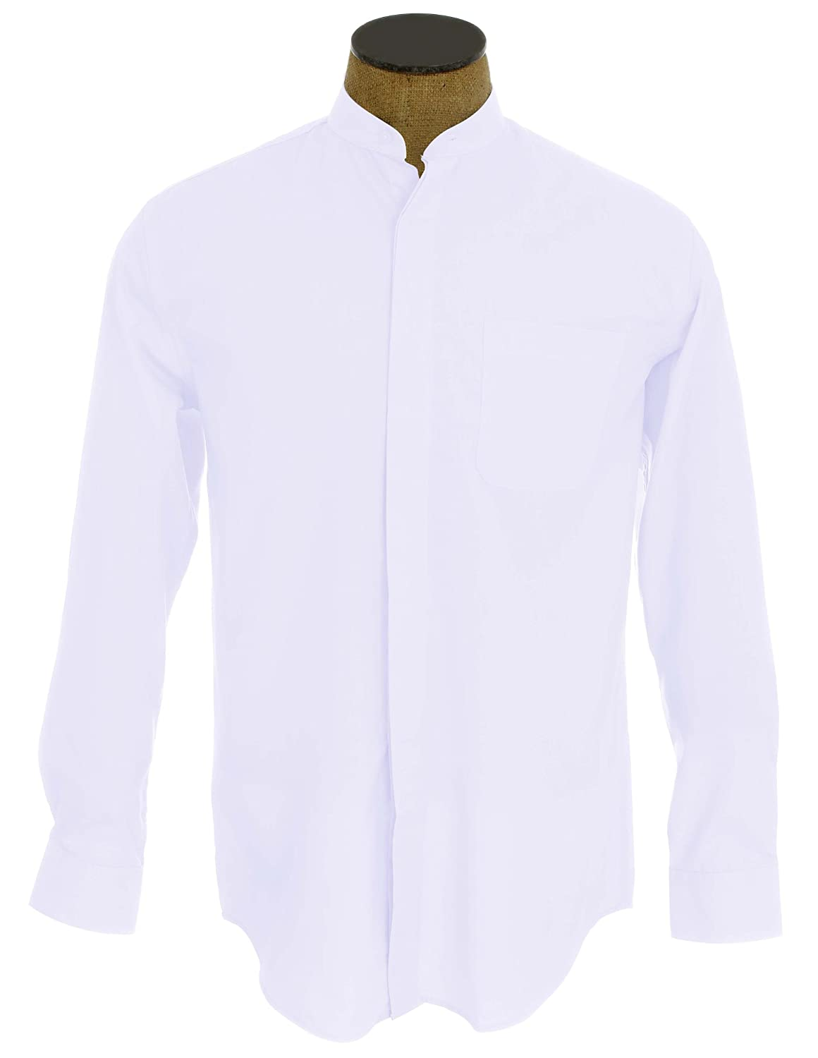 1910s Men's Edwardian Fashion and Clothing Guide Banded Collar Dress Shirt $21.95 AT vintagedancer.com