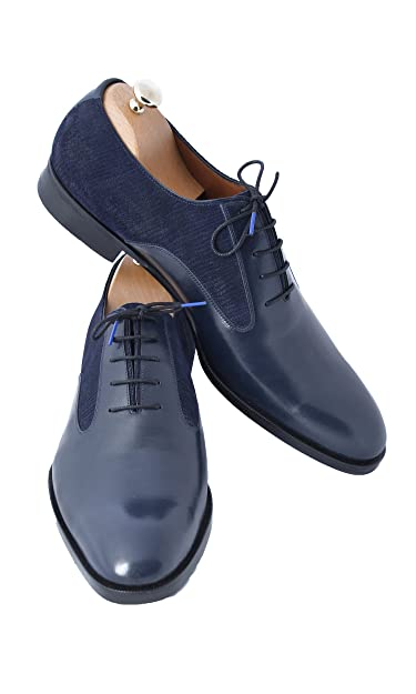 729090b18c39 Handmade Navy Blue Leather and Suede Men Shoes (6.5)