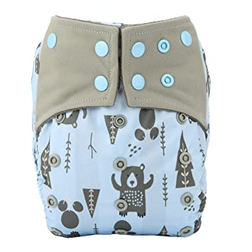 Dinosaur Bear Racoon AIll in One Night AIO Cloth Diaper Nappy Sewn in Insert Reusable Washable Boys