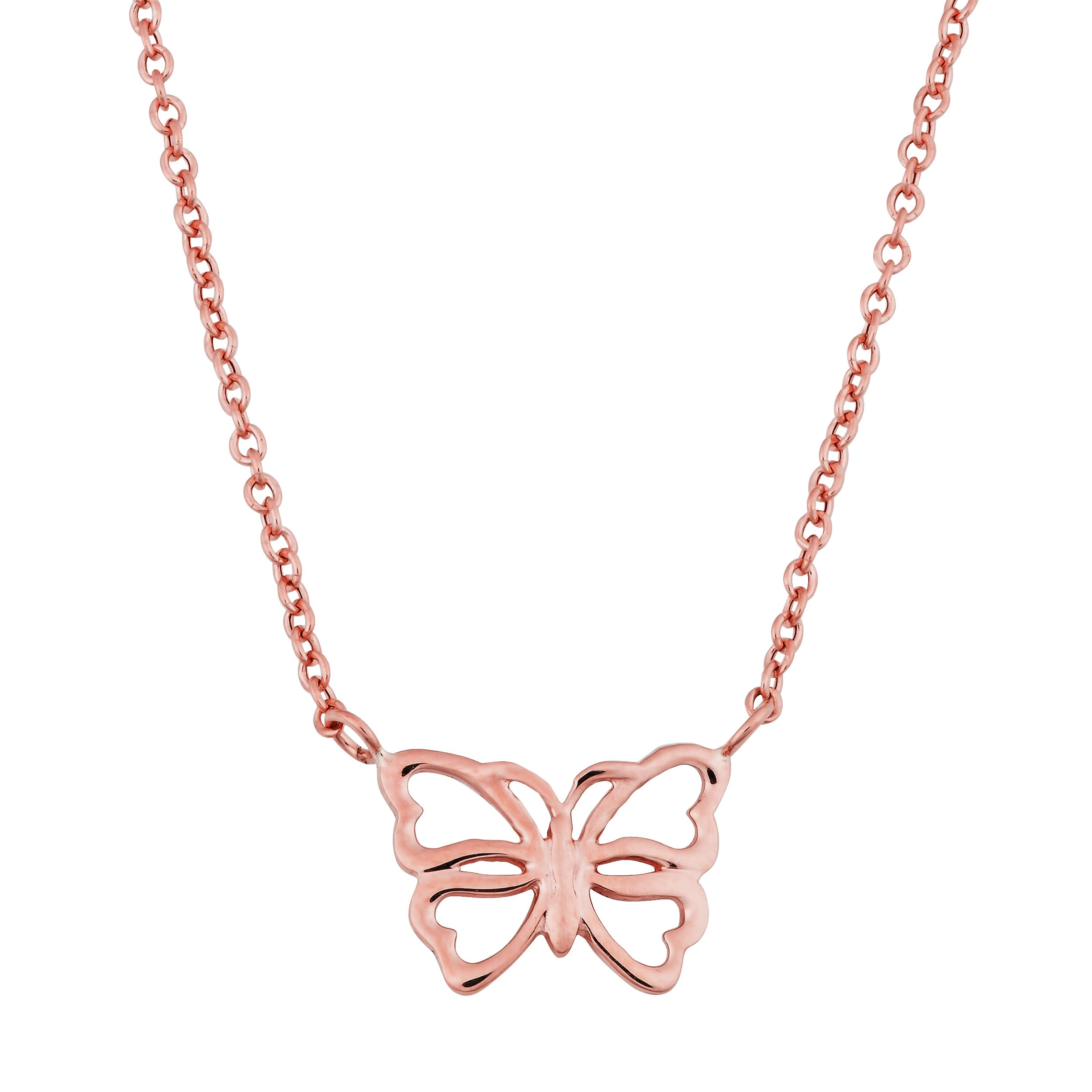 14k Rose Gold Butterfly Adjustable Length Necklace (fits 17'' or 18'')