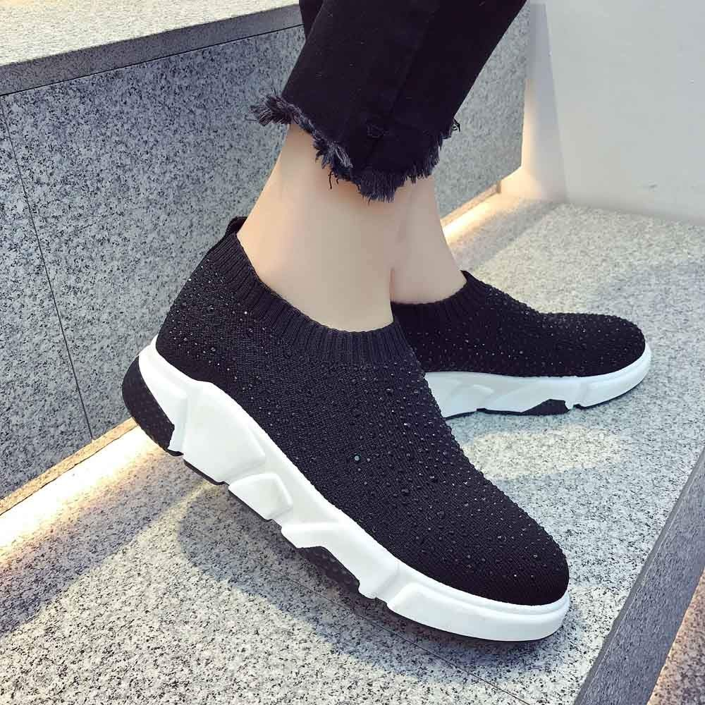 Dacawin Womens Sneakers Comfortable Knitted Elastic Cloth Socks Casual Rhinestone Sport Shoes at Amazon Womens Clothing store: