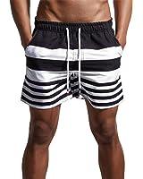 Men's Stripe Swim Trunks Quick Dry Casual Swim Shorts 02