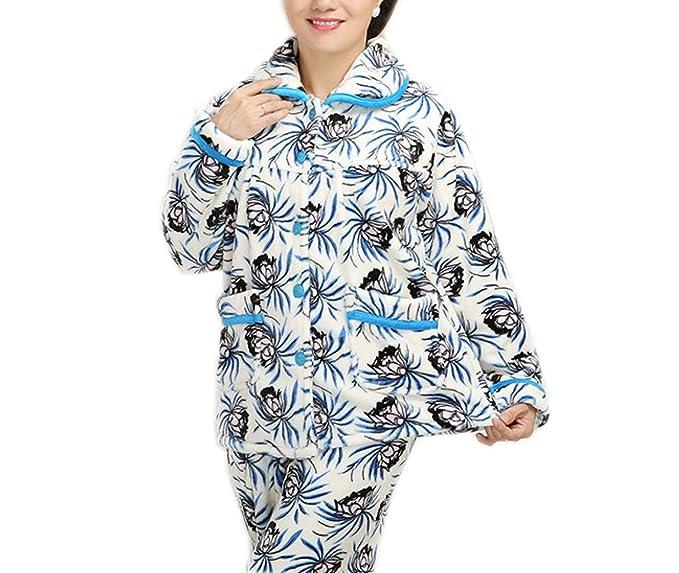 ZXCB Pijamas De Lujo De La Franela De Las Señoras Largas Mangas Pijamas Suaves Y Calientes