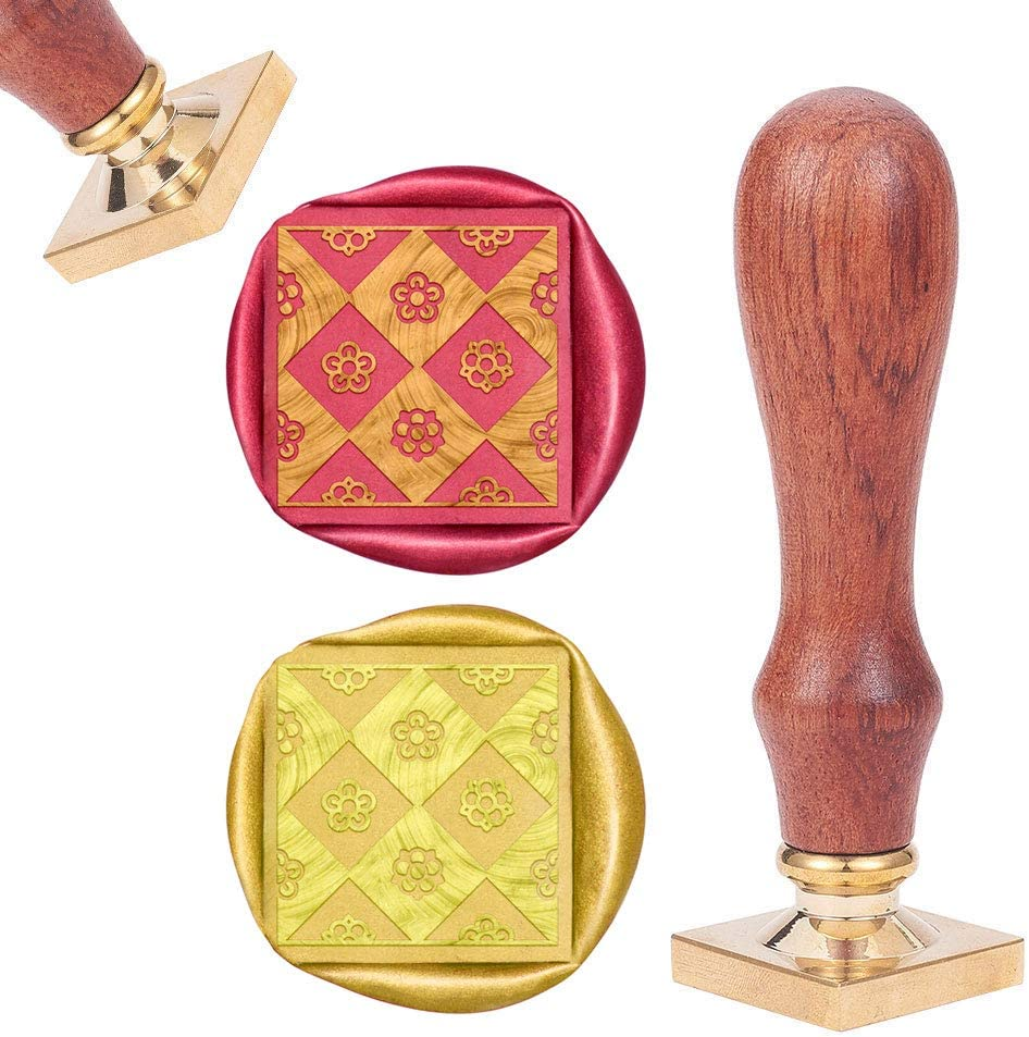 CRASPIRE Wax Seal Stamp Flower in Square Grid, Sealing Wax Stamp Retro Wood Stamp Wax Seal 25mm Removable Brass Head Wood Handle for Party Wedding Invitation Envelope Greeting Card Wine Bottle Decor